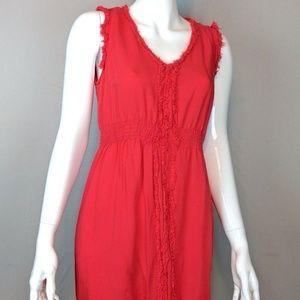 Angie Frayed Hem Smocked Cinched Waist VNeck Dress
